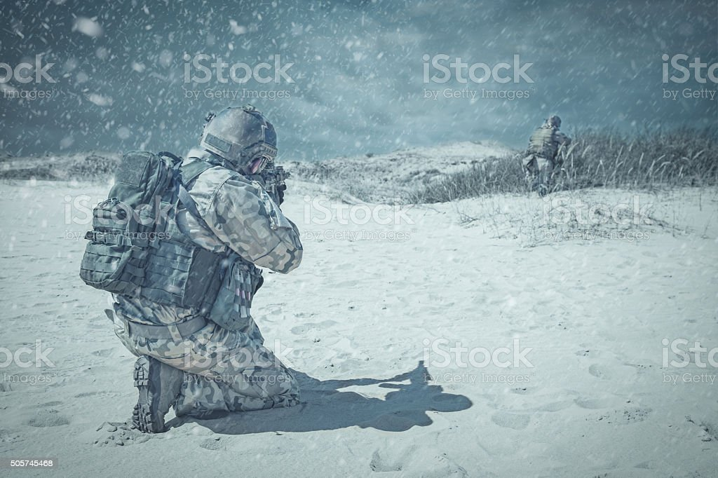 Troopers winter storm stock photo