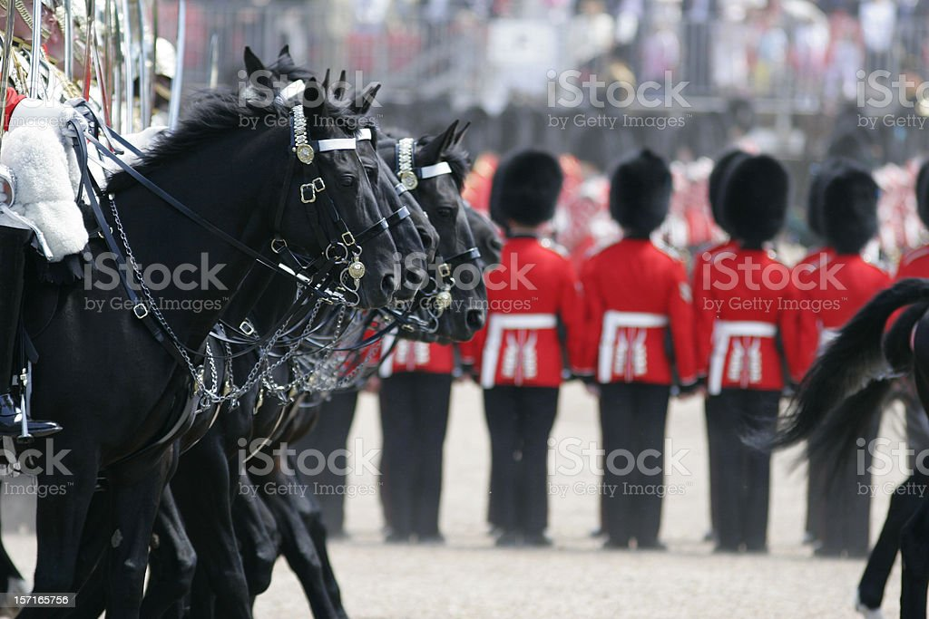 Troops of the Colors Parade celebrating Queen's birthday stock photo