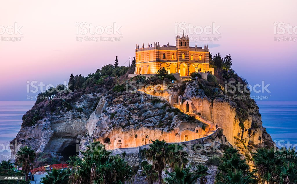 Tropea panoramic view at sunset, Calabria, Italy. stock photo