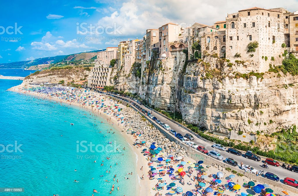 Tropea panoramic view, Calabria, Italy. stock photo