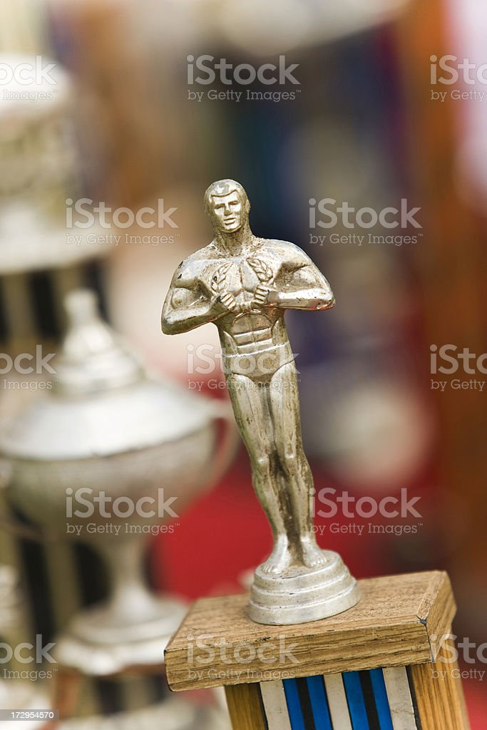 Trophies on a table royalty-free stock photo