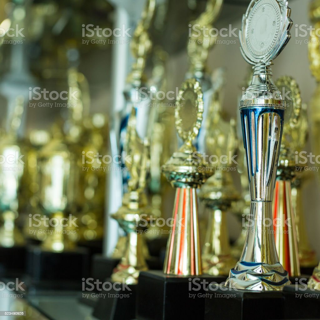 Trophy awards for champion leadership stock photo