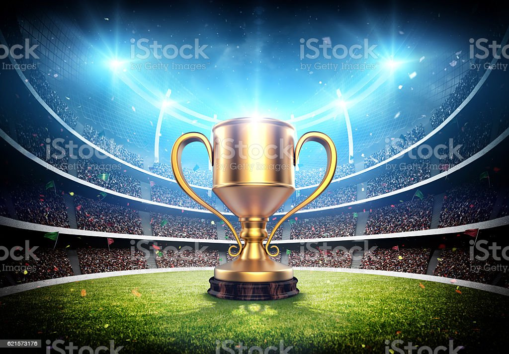 Trophy cup in the stadium stock photo