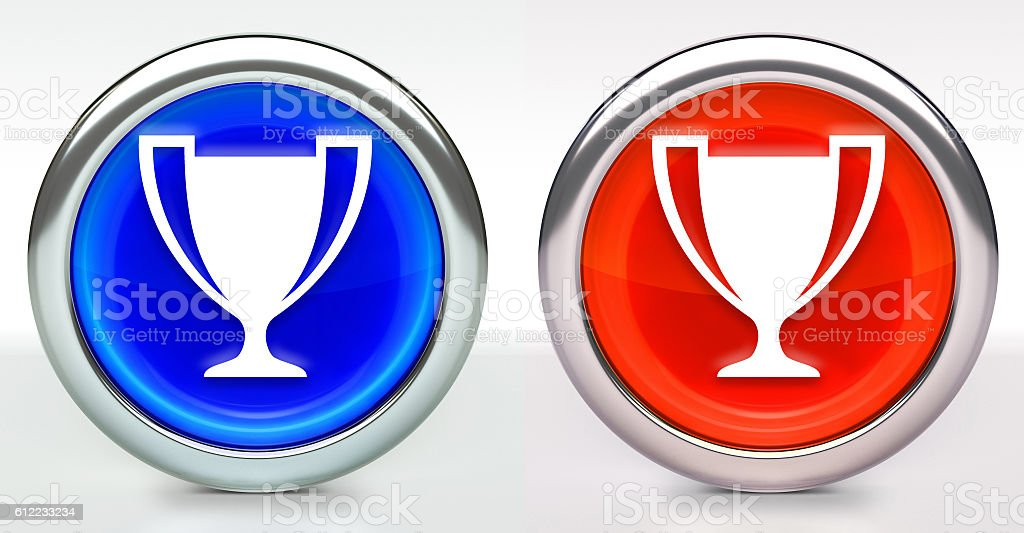 Trophy Icon on Button with Metallic Rim stock photo