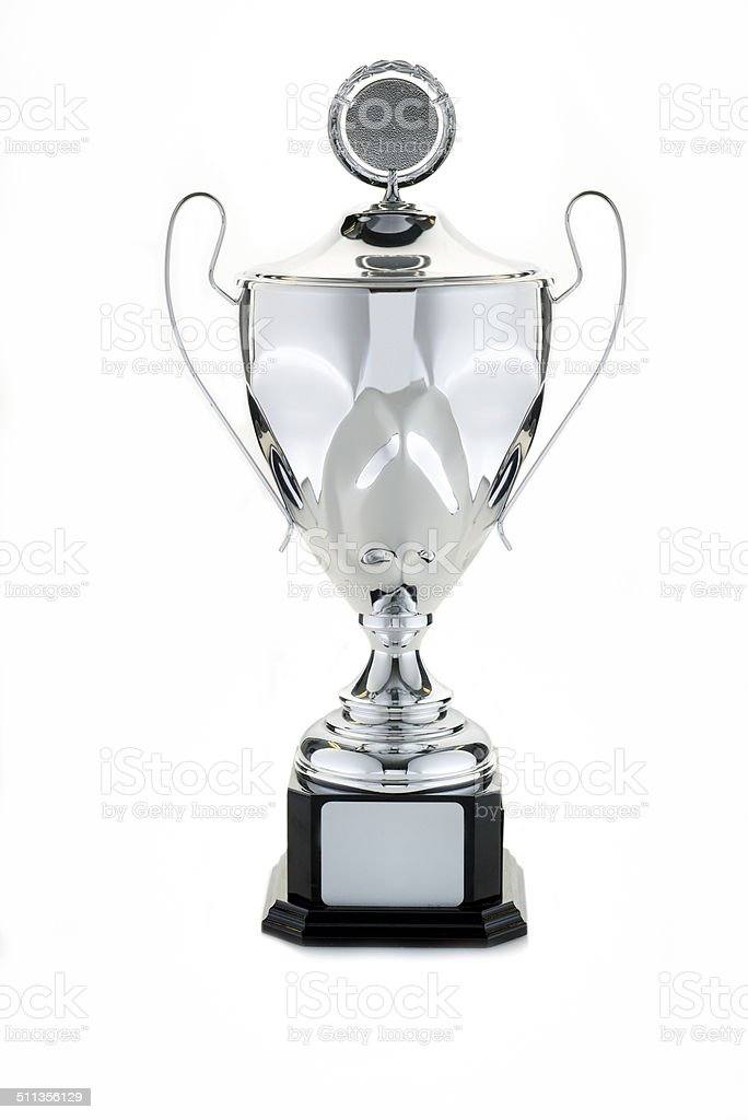 Trophy on white, winner's cup stock photo