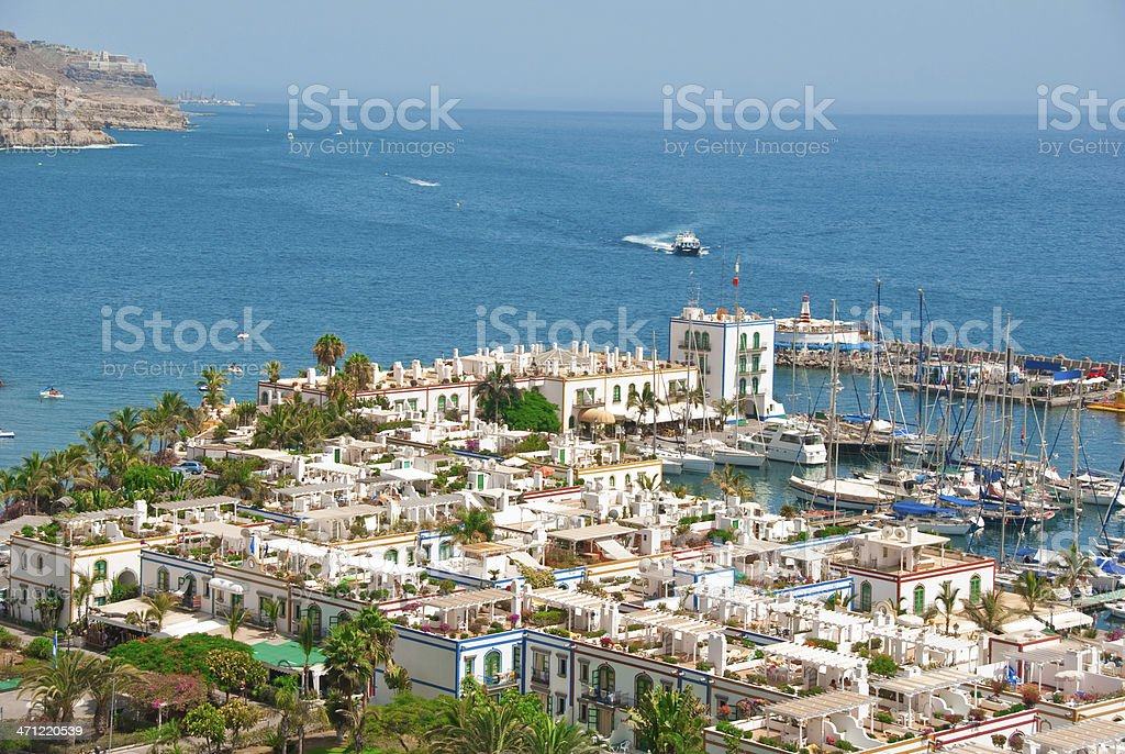 Tropic marina with picturesque villas stock photo