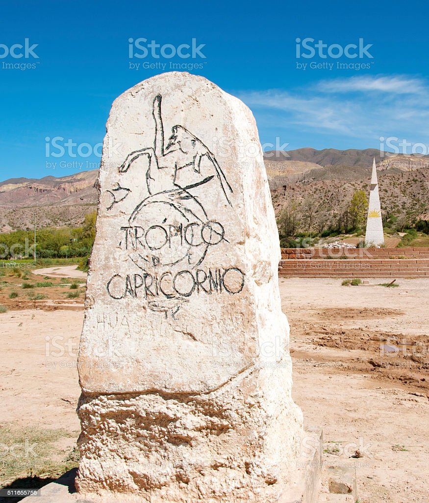 Tropic of Capricorn sign in Jujuy Argentina stock photo