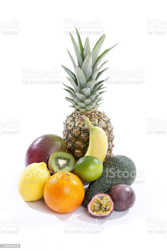 Tropical and citrus fruit on white background royalty-free stock photo