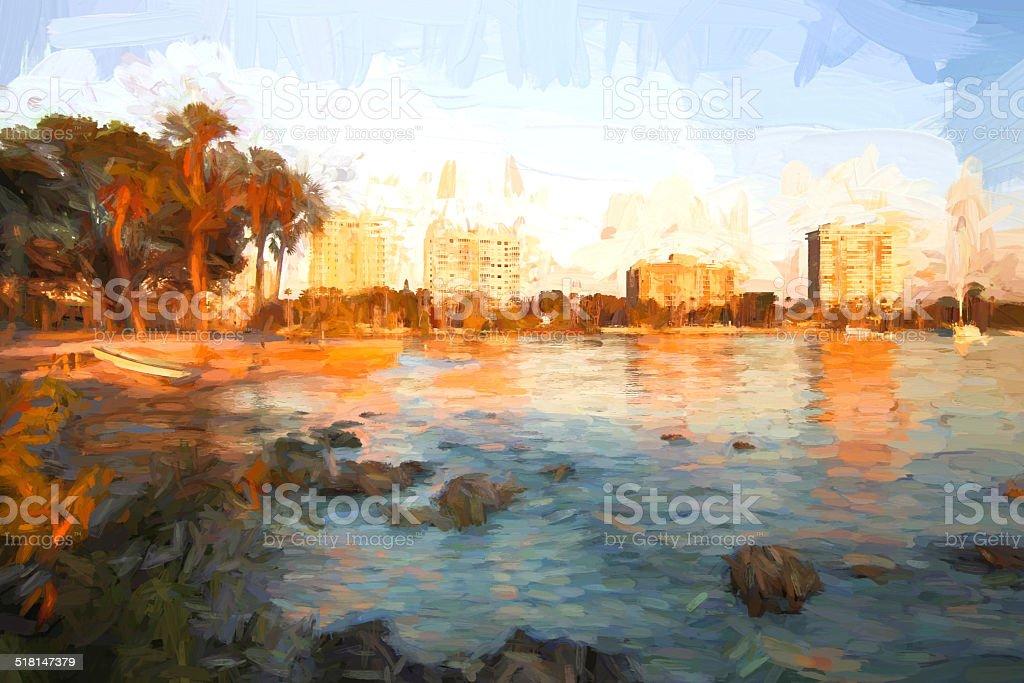 Tropical Autumn Sunset - Sarasota Bay Painted stock photo