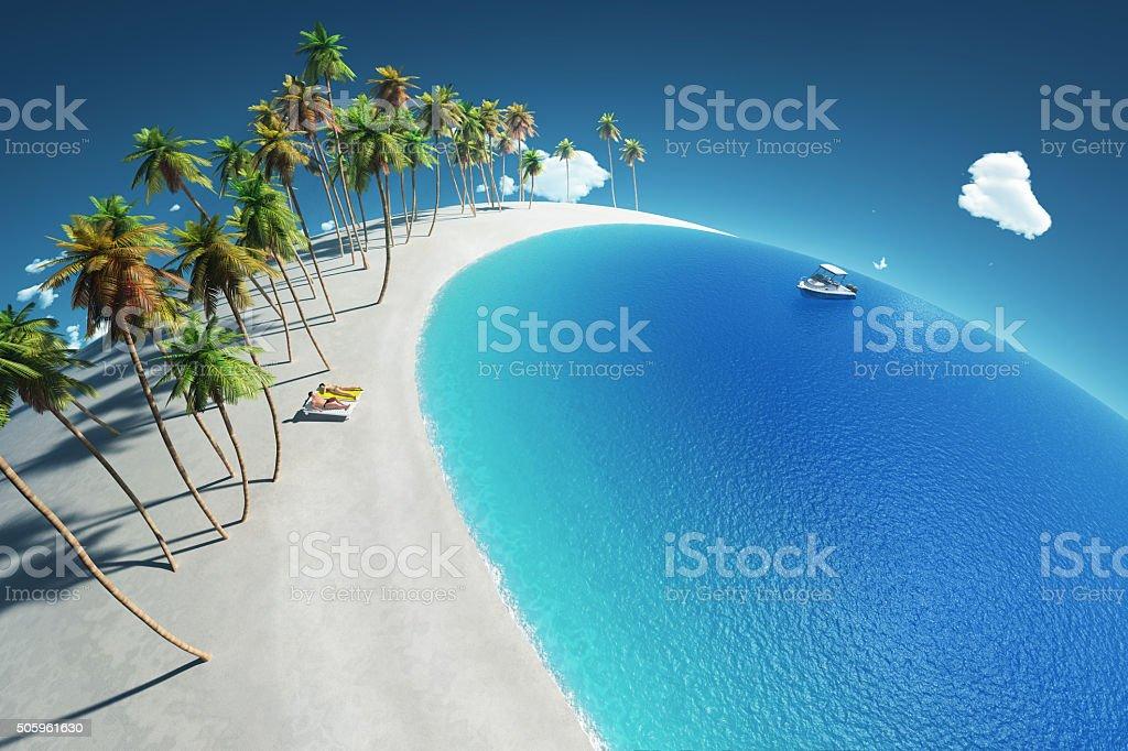 tropical beach, aerial view stock photo