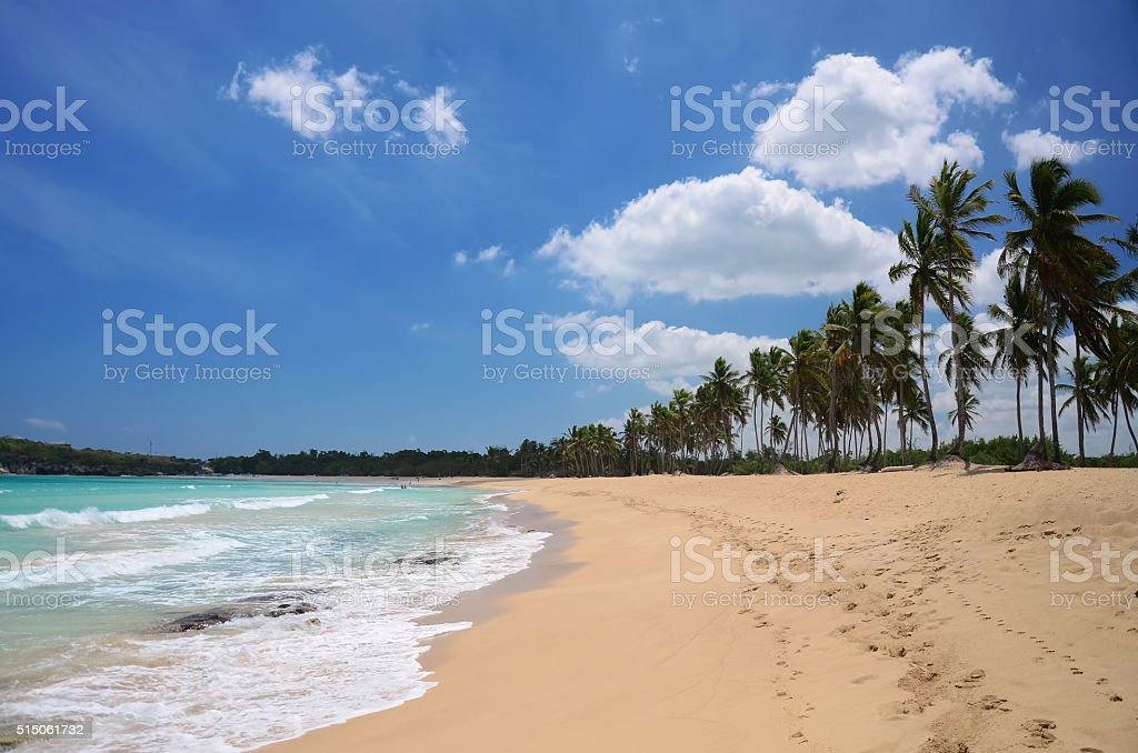 Tropical beach and beautiful clouds stock photo