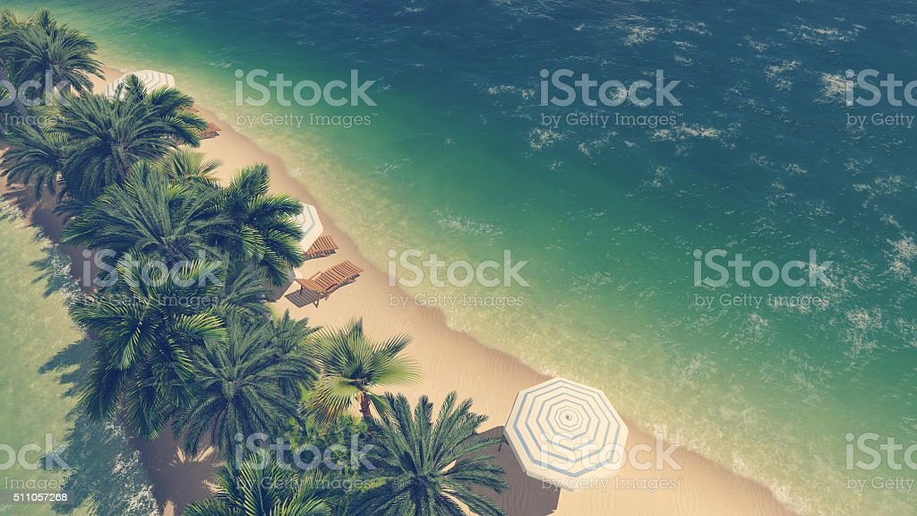 Tropical beach and clear ocean Aerial view stock photo