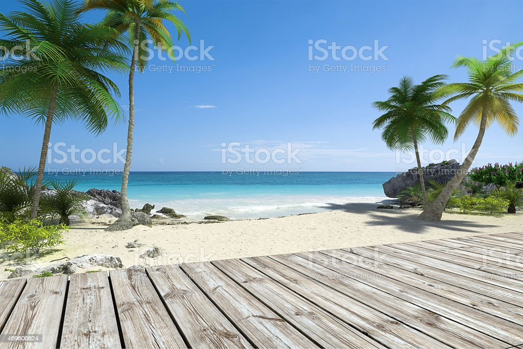 Tropical Beach and deck stock photo