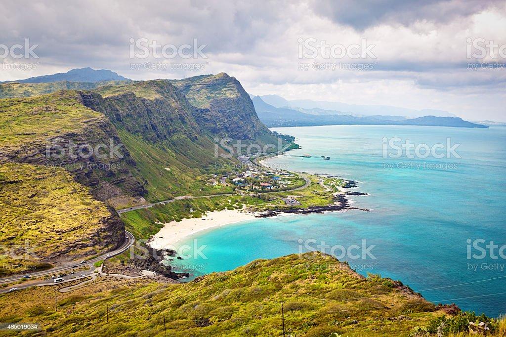 Tropical Beach and Mountain Scenery of Oahu, Hawaii stock photo