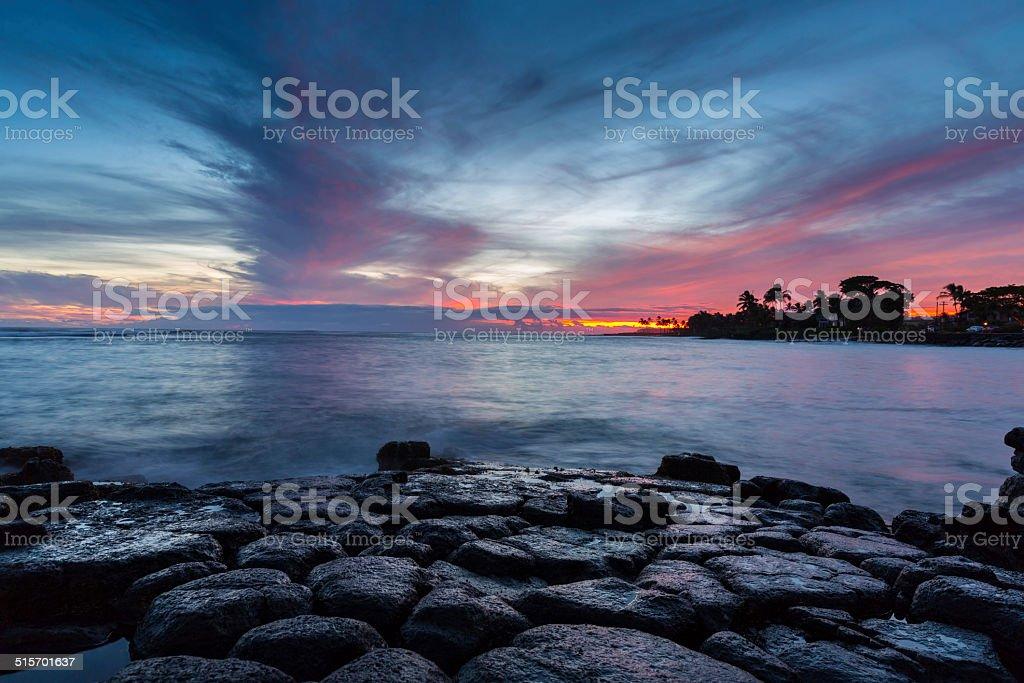 Tropical Beach and Ocean Sunset stock photo