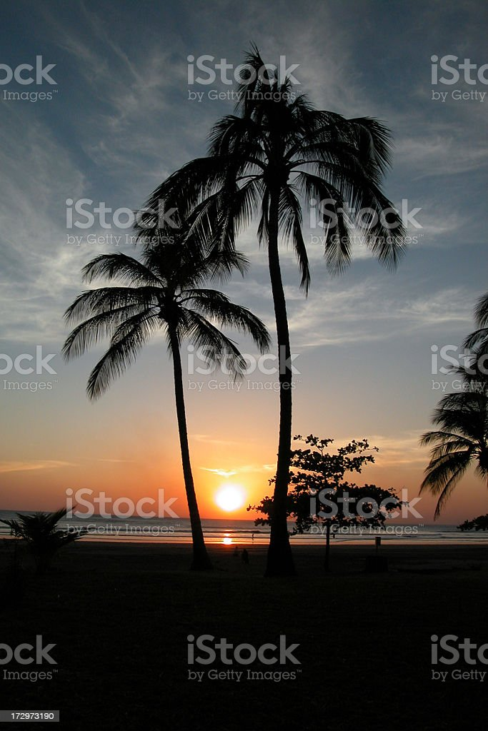 Tropical Beach and Palm Trees Sunset, Montelimar, Nicaragua royalty-free stock photo