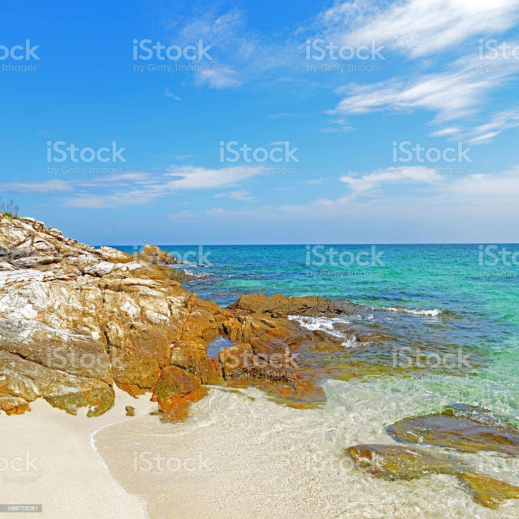 tropical beach and sea in koh samed island stock photo