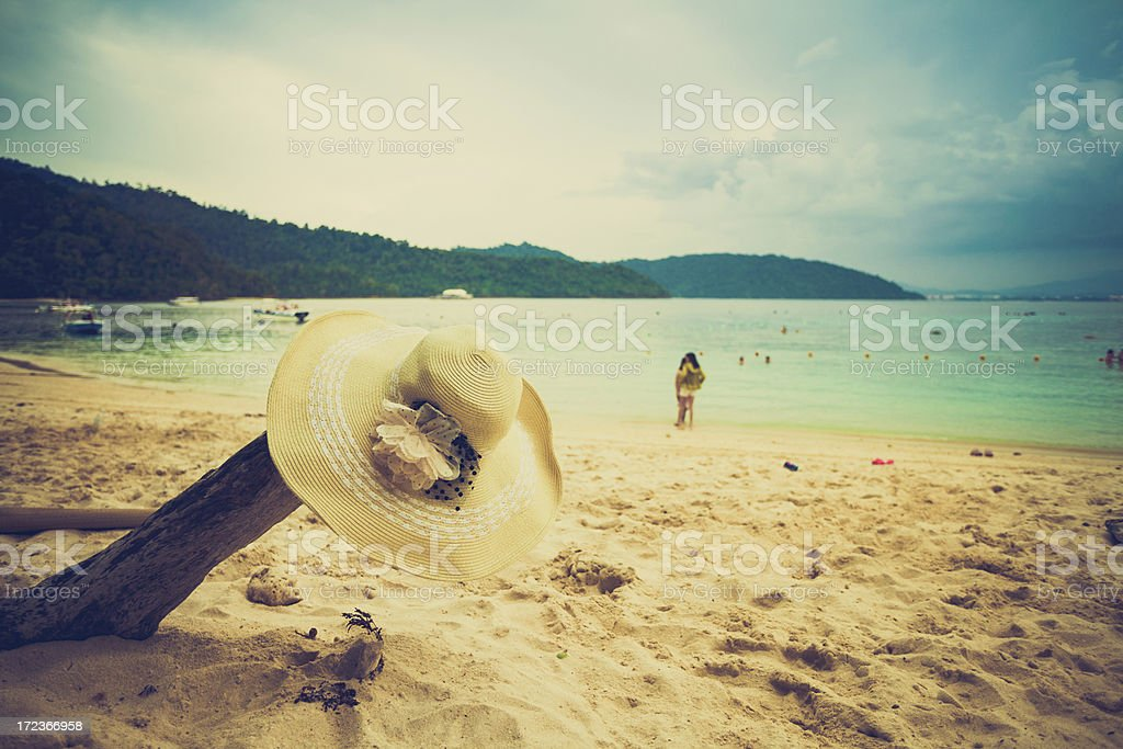Tropical Beach and Straw Hat, Summer Vacations royalty-free stock photo