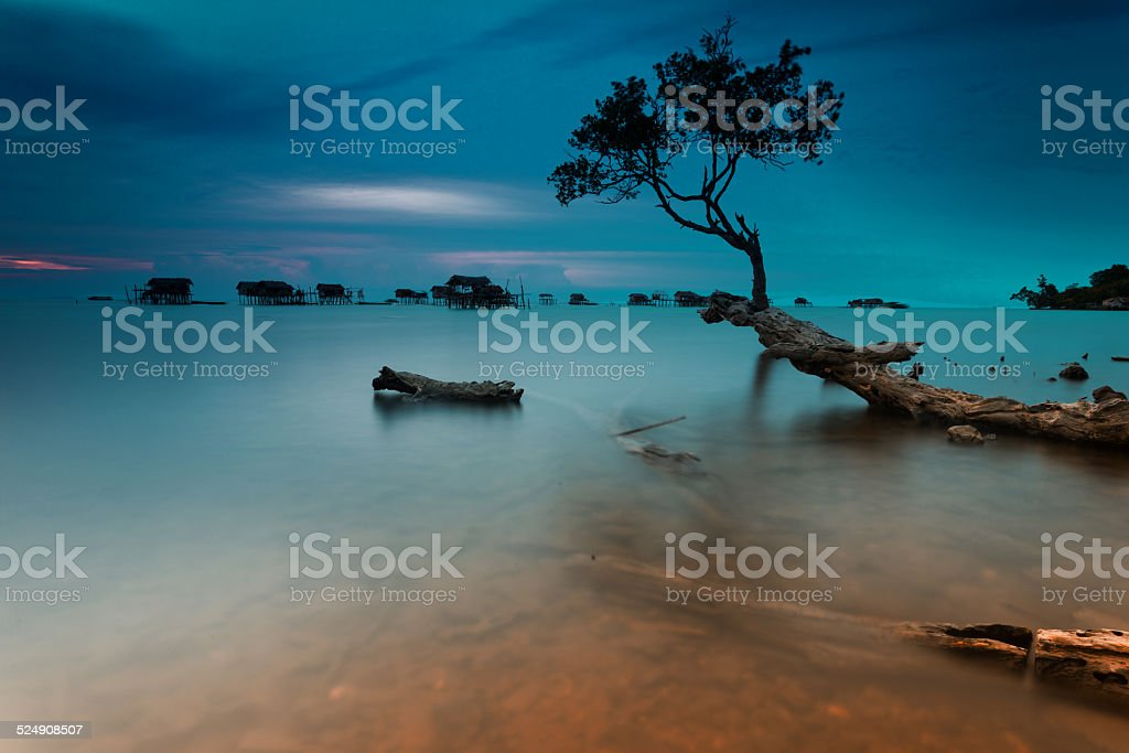 Tropical Beach and Water Village stock photo