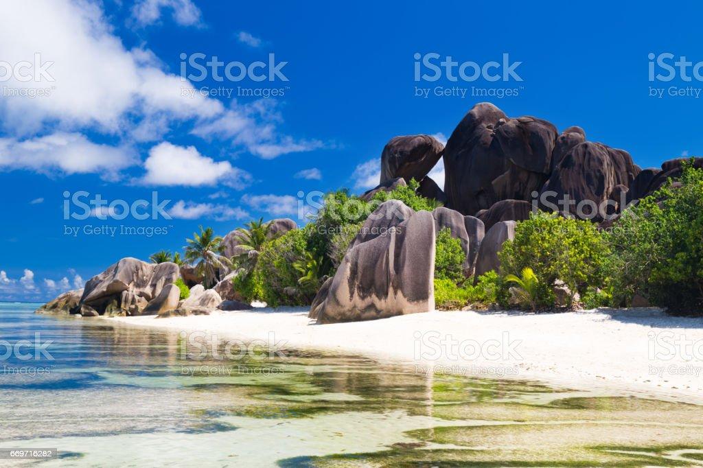 Tropical beach Anse Source d'Argent stock photo
