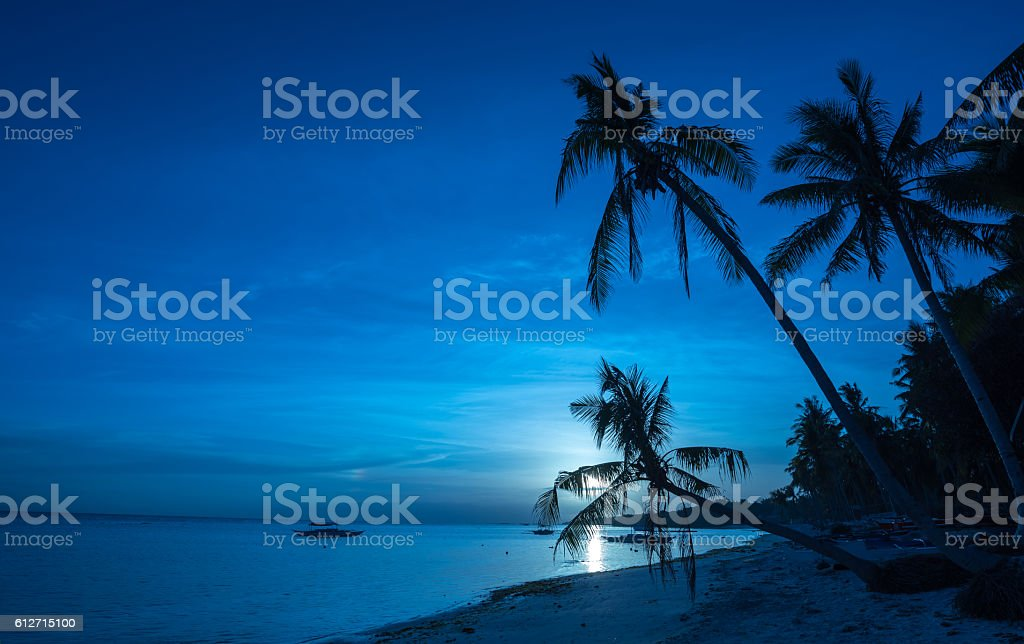 Tropical beach background of night view from Dumaluan Beach stock photo
