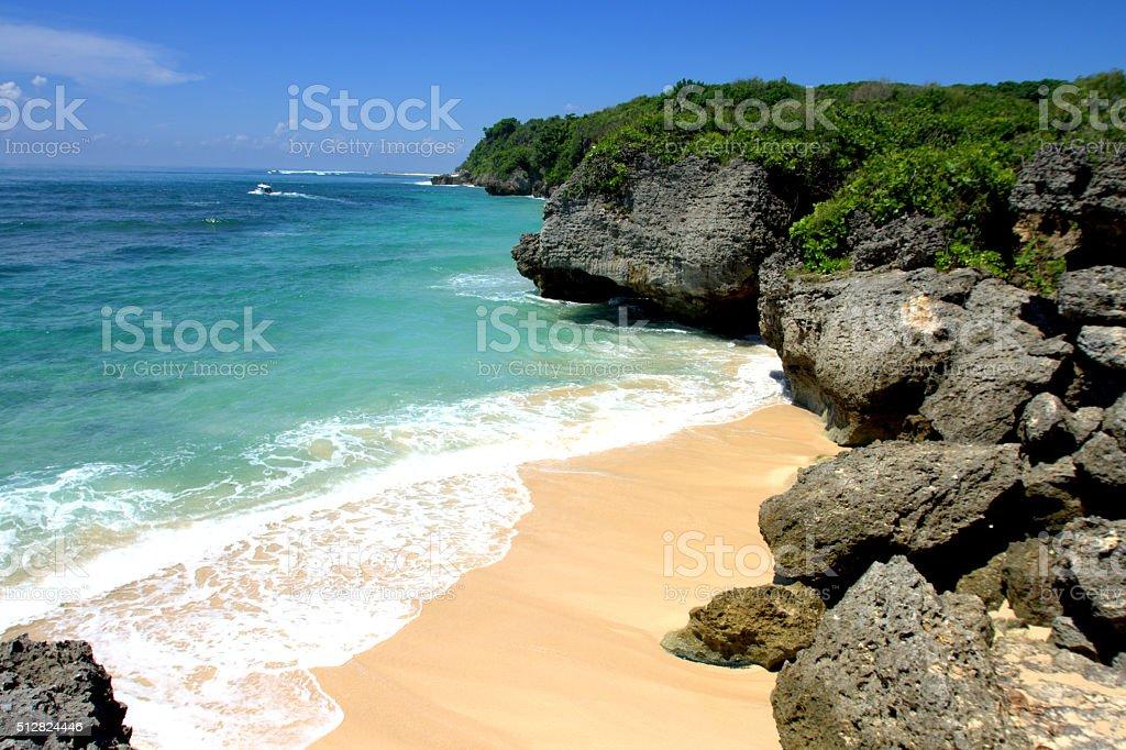 Tropical beach, Bali Indonesia stock photo