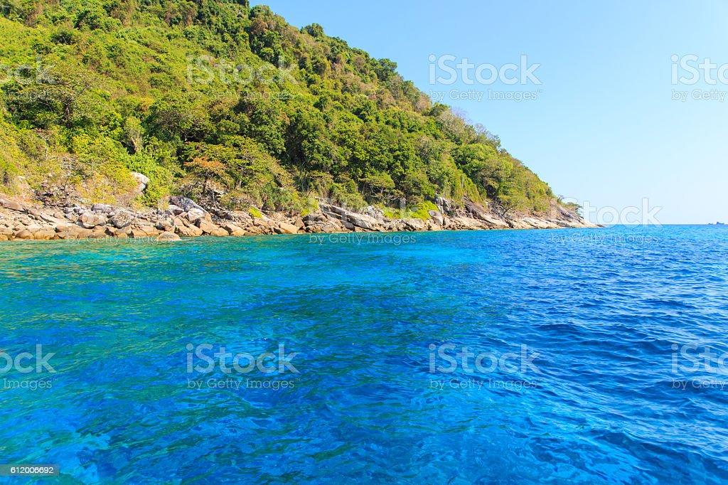 Tropical beach beautiful sea and blue sky stock photo