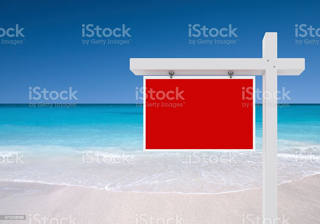 Tropical Beach For Sale Sign stock photo
