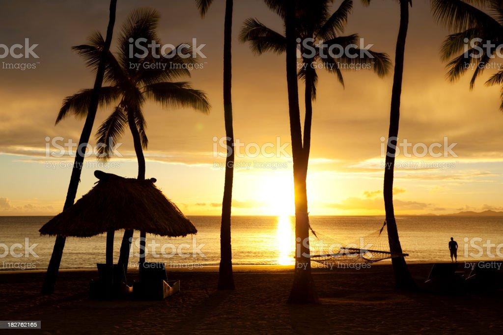 Tropical Beach Getaway Silhouette stock photo
