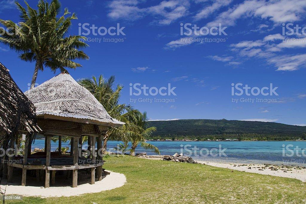 tropical beach hut stock photo