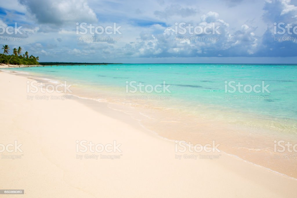 Tropical beach in caribbean sea stock photo