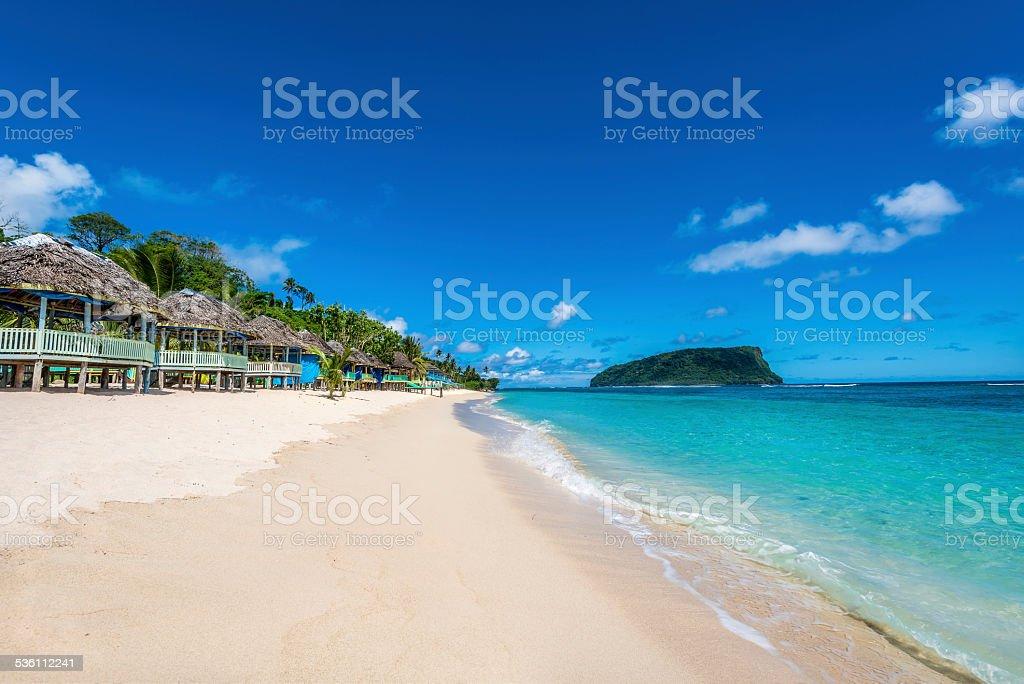 Tropical Beach in Western Samoa stock photo