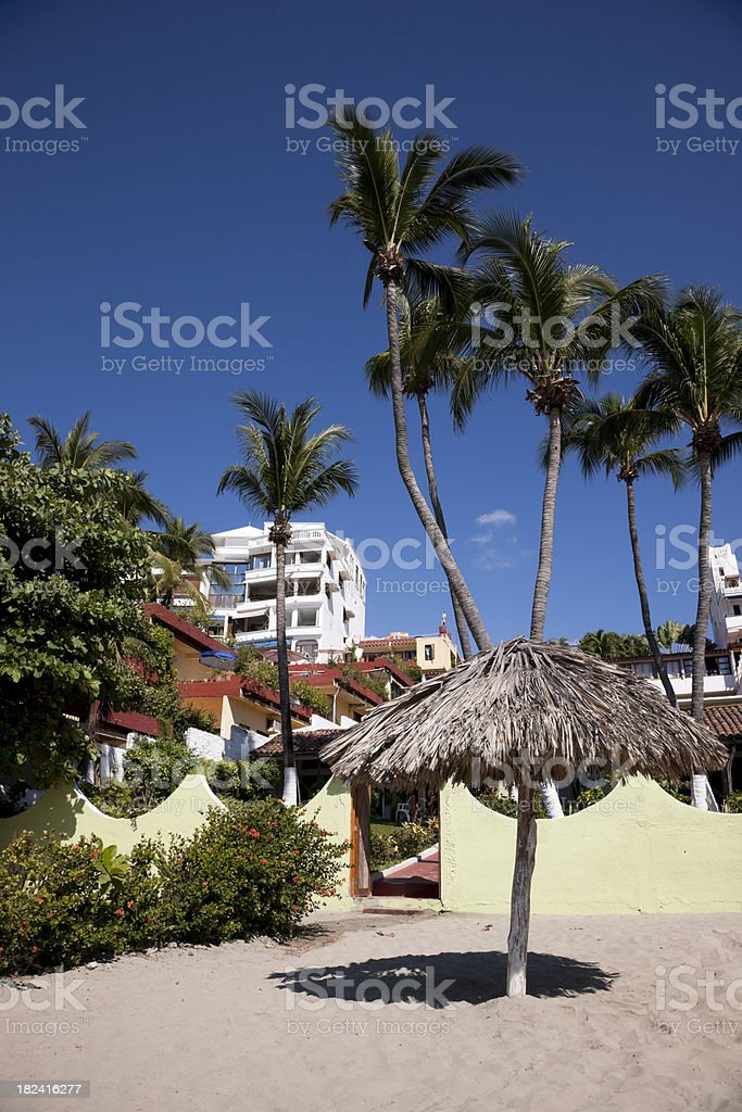 Tropical Beach, Mexico With Palapa, Deep Blue Sky, Palm Trees royalty-free stock photo