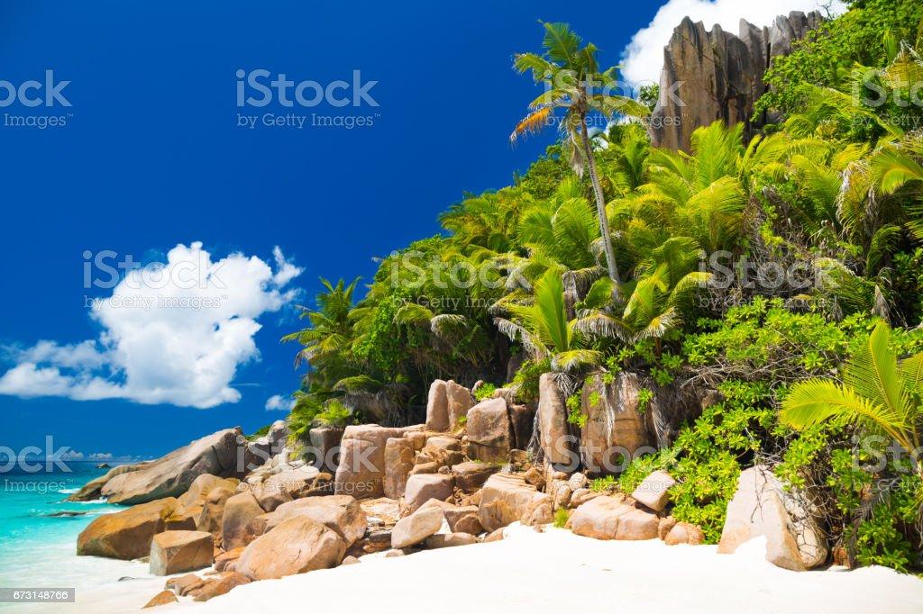 Tropical beach of Grande Soeur stock photo