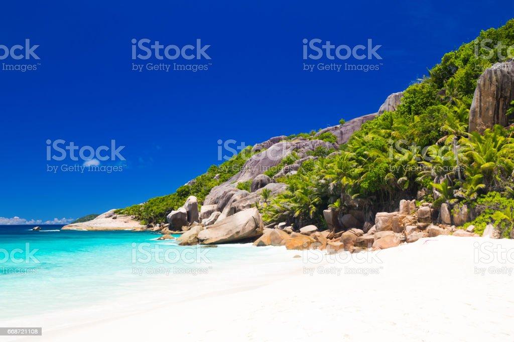 Tropical beach of Seychelles stock photo