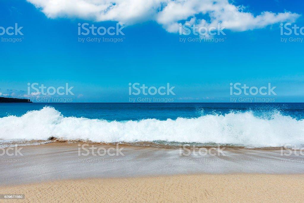 Tropical beach. Padangbai, Bali, Indonesia stock photo
