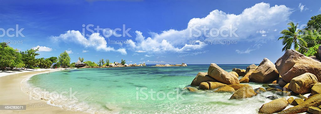 tropical beach panorama stock photo