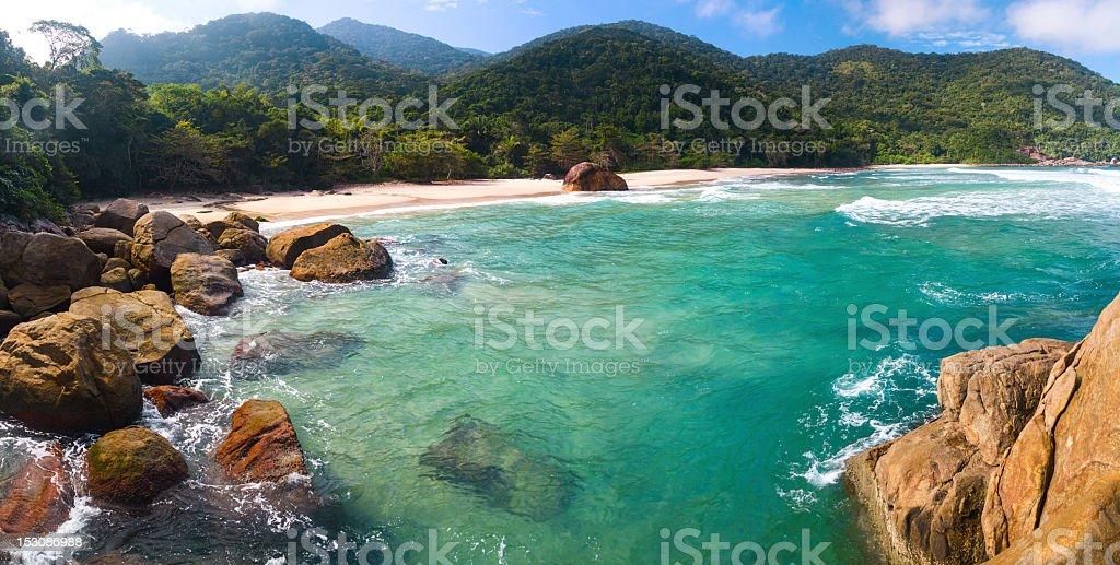 Tropical beach panoramic stock photo