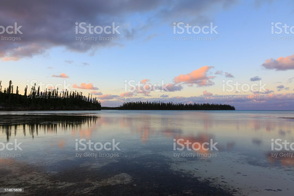 Tropical Beach Paradise at Sunset, Isle of Pines, New Caledonia royalty-free stock photo