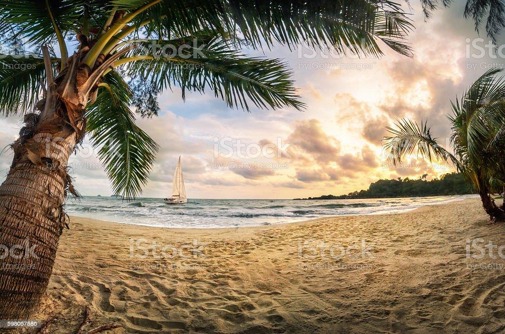 Tropical beach paradise at sunset stock photo