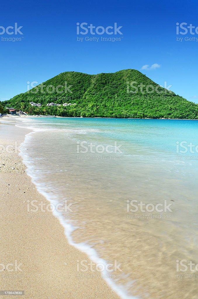 tropical beach paradise; reduit St Lucia stock photo