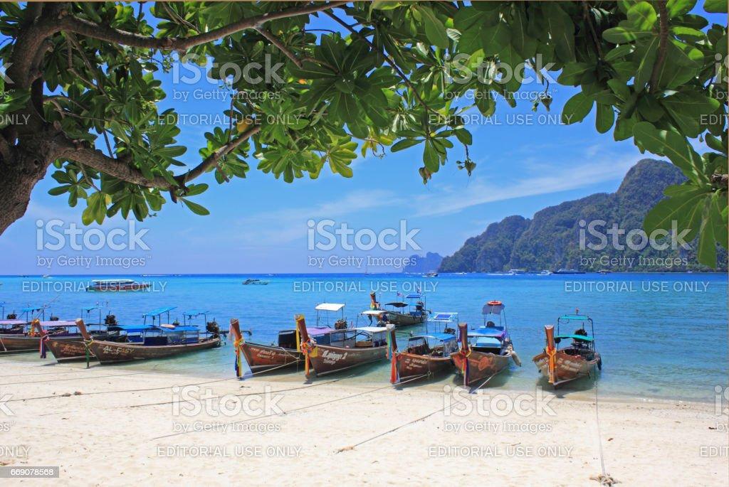 Tropical beach, Phi phi island, Thailand stock photo