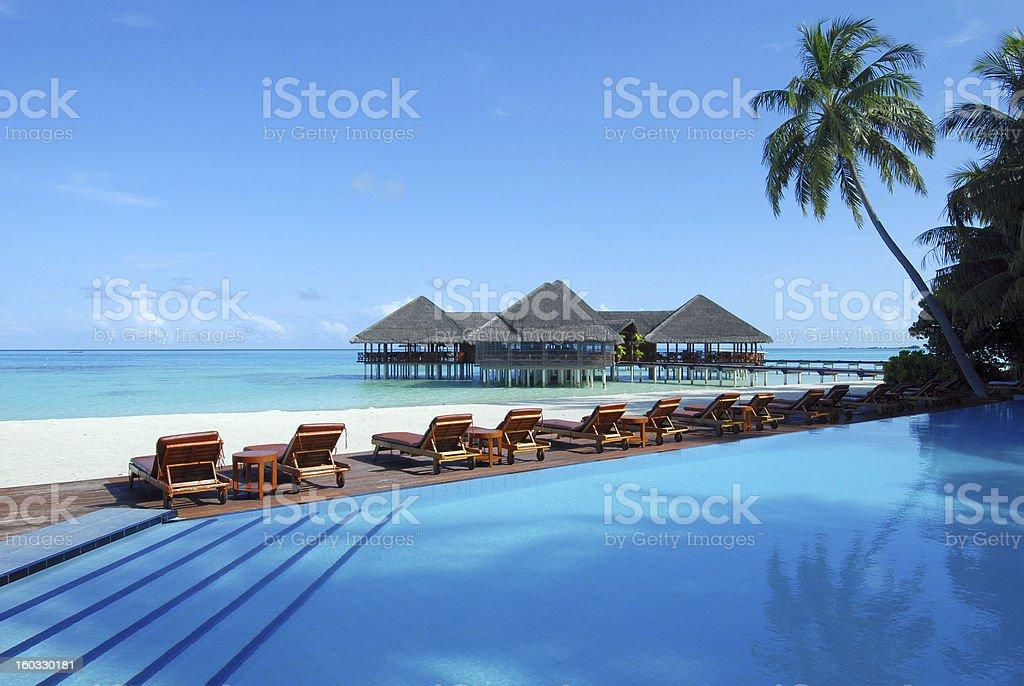 Tropical beach resort of maldives stock photo