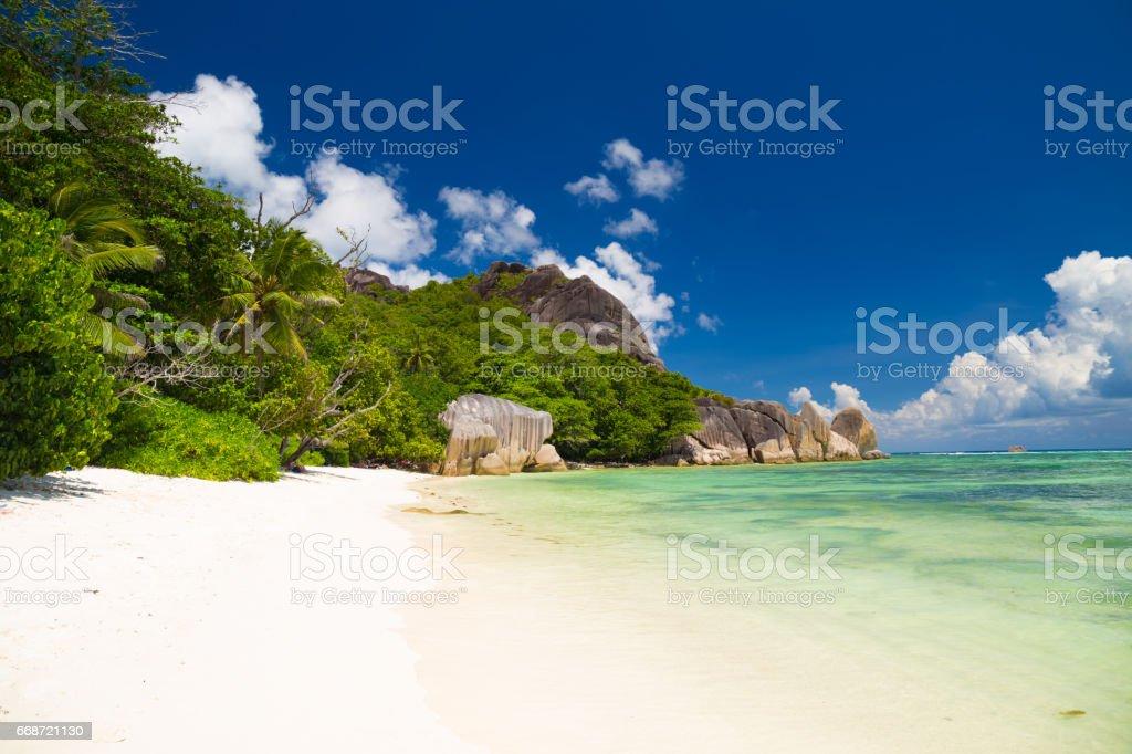 Tropical beach, Seychelles stock photo
