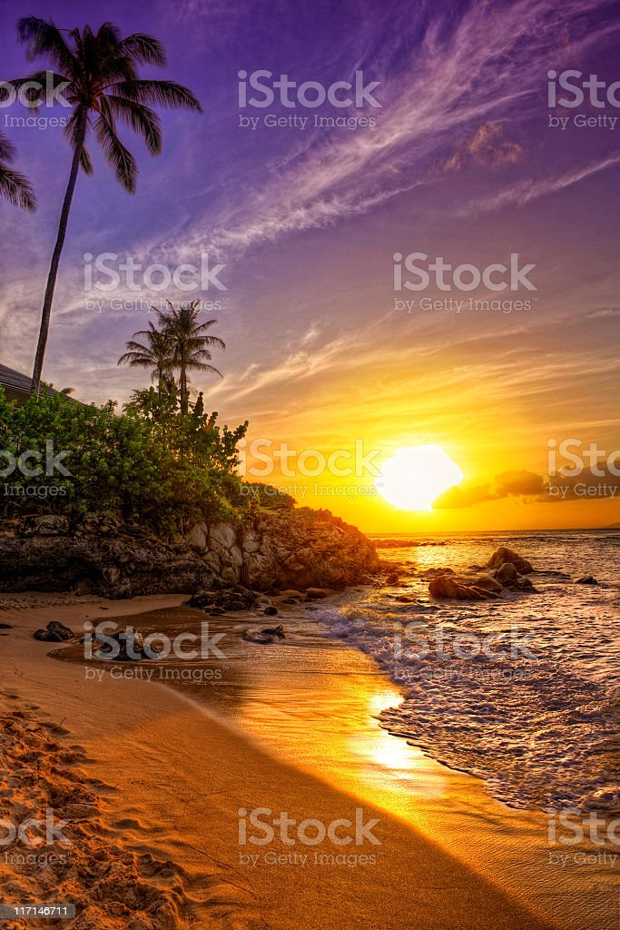 A tropical beach sunset on a beautiful day  stock photo