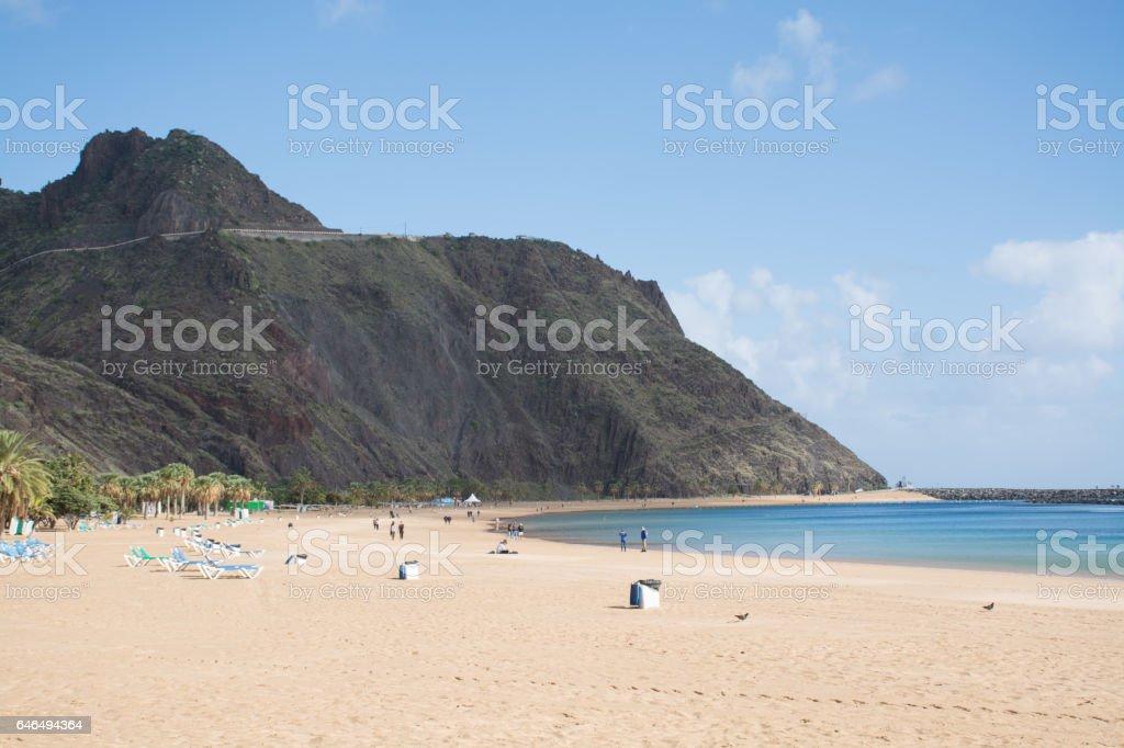 Tropical beach Teresitas, Tenerife, Canary Islands in winter stock photo