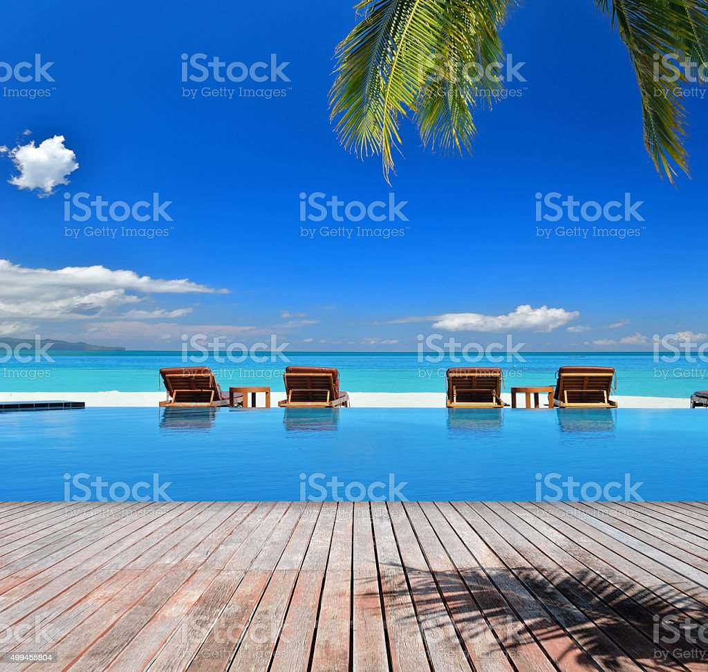Tropical beach vacation and travel concept stock photo