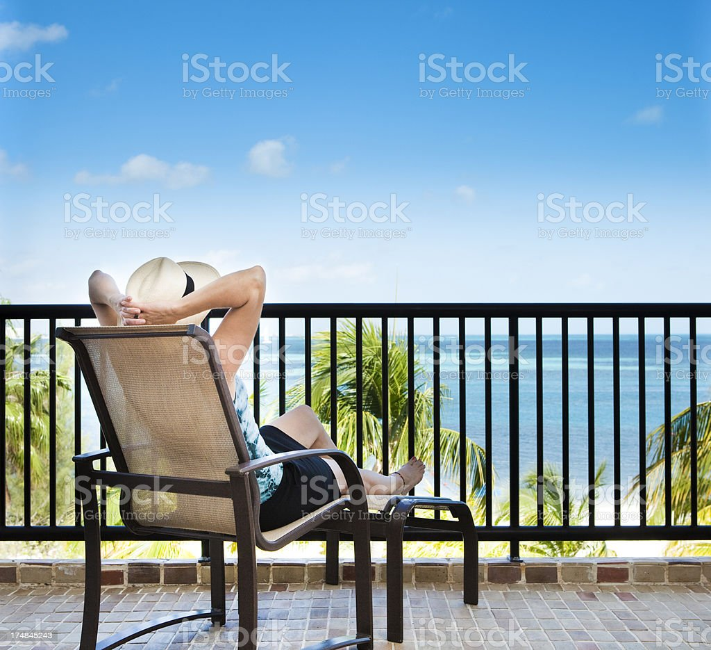Tropical Beach Vacation Room view in Hotel Resort Balcony royalty-free stock photo
