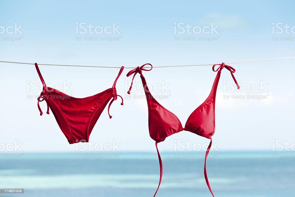 Tropical Beach Vacation with Bikini Swimwear Drying on Clothes Line stock photo