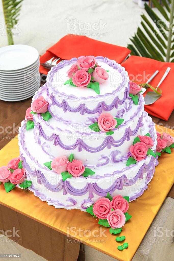 Tropical Beach Wedding Cake Arrangement stock photo